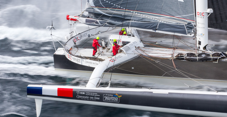 Training for the maxi tri IDEC Sport, skipper Francis Joyon, and his crew, prior to their circumnavigation crew record attempt for Trophy Jules Verne, off Belle Ile, on october 12, 2016 - Photo Jean-Marie Liot / DPPI / IDEC